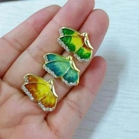free shipping enamel gradient color crystal butterfly stud earrings for women fashion blue green yellow earrings insect jewelry