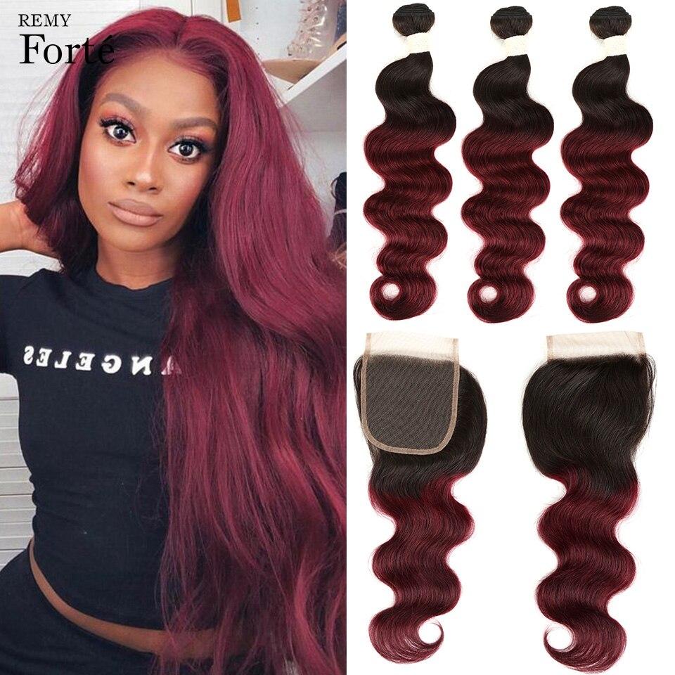 Remy forte 30 Polegada t1b/99j ombre pacotes com fecho de cabelo brasileiro tecer pacotes onda do corpo pacotes vermelhos com fecho 3 pacotes