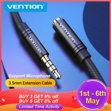 Vention Jack 3.5 Aux Extension Cable for Car Laptop Mini PC TV Xiaomi Huawei Stereo 3.5 mm Jack Head