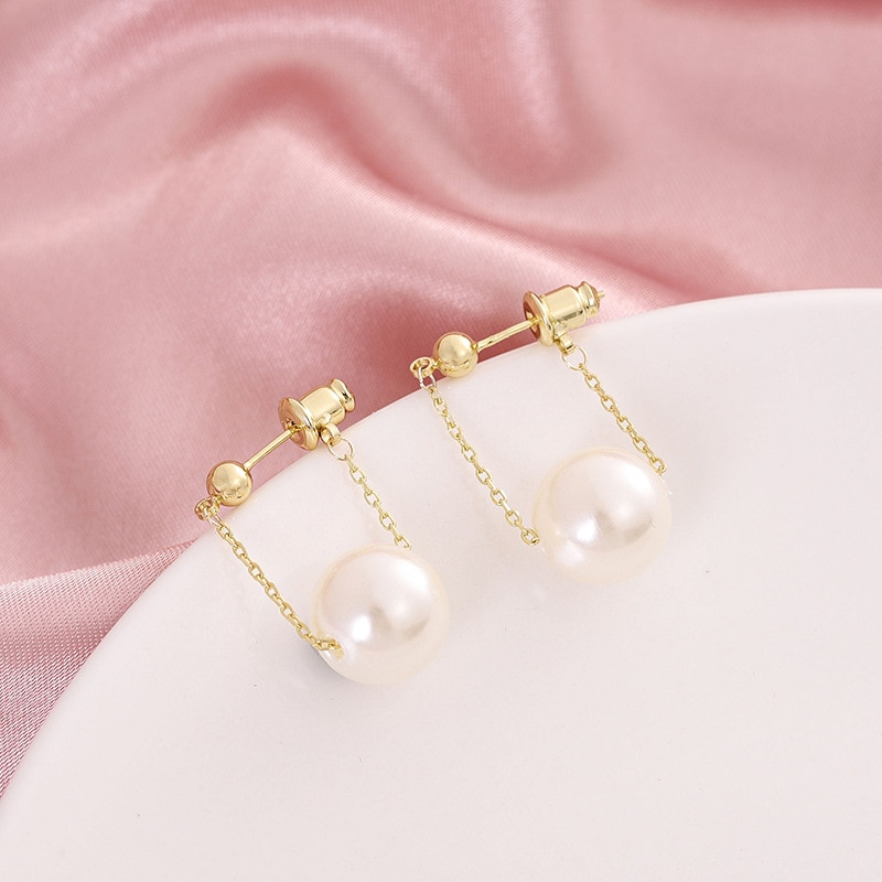 South Korea East gate S925 silver needle earrings round imitation pearl nail female temperament simple with tide earrin