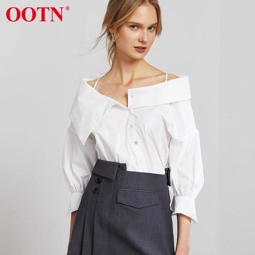 OOTN قميص الخريف الربيع فانوس كم مثير السيدات 2021 موضة شيك عدم التماثل قبالة الكتف بلوزة القطن عالية الشارع لباس أبيض