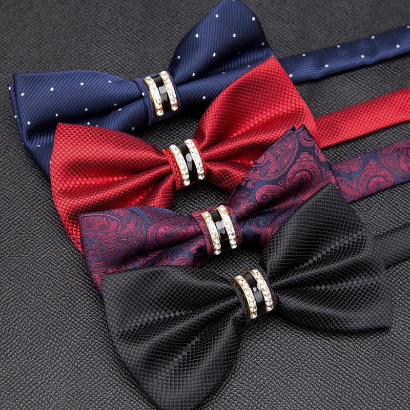 Men Luxurious Bowtie Groom Mens Striped Plaid Cravat Gravata Fashion Butterfly Wedding Bow Ties for Male Accessories Gifts Tie недорого
