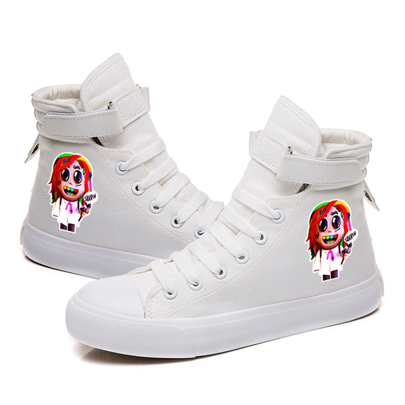 Rapper Tekashi69 Unisex High Top Canvas Casual Shoe Lace up Breathable Fashion Sneakers for Boy Girl