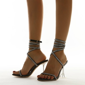 European Summer Fashion Flowing Women Pumps Rhinestone High Heeled Sandals Size 35-42