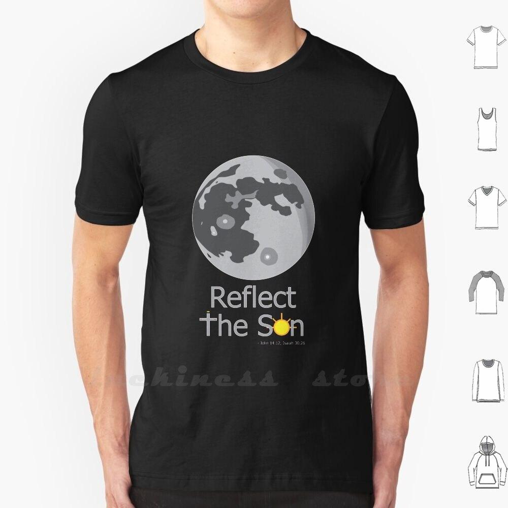 Camiseta reflective The son-moon Concept (estilo oscuro) 6Xl algodón tamaño grande reflejo Son Biblia Isaiah 30 26 John 14 12 Moon Sun