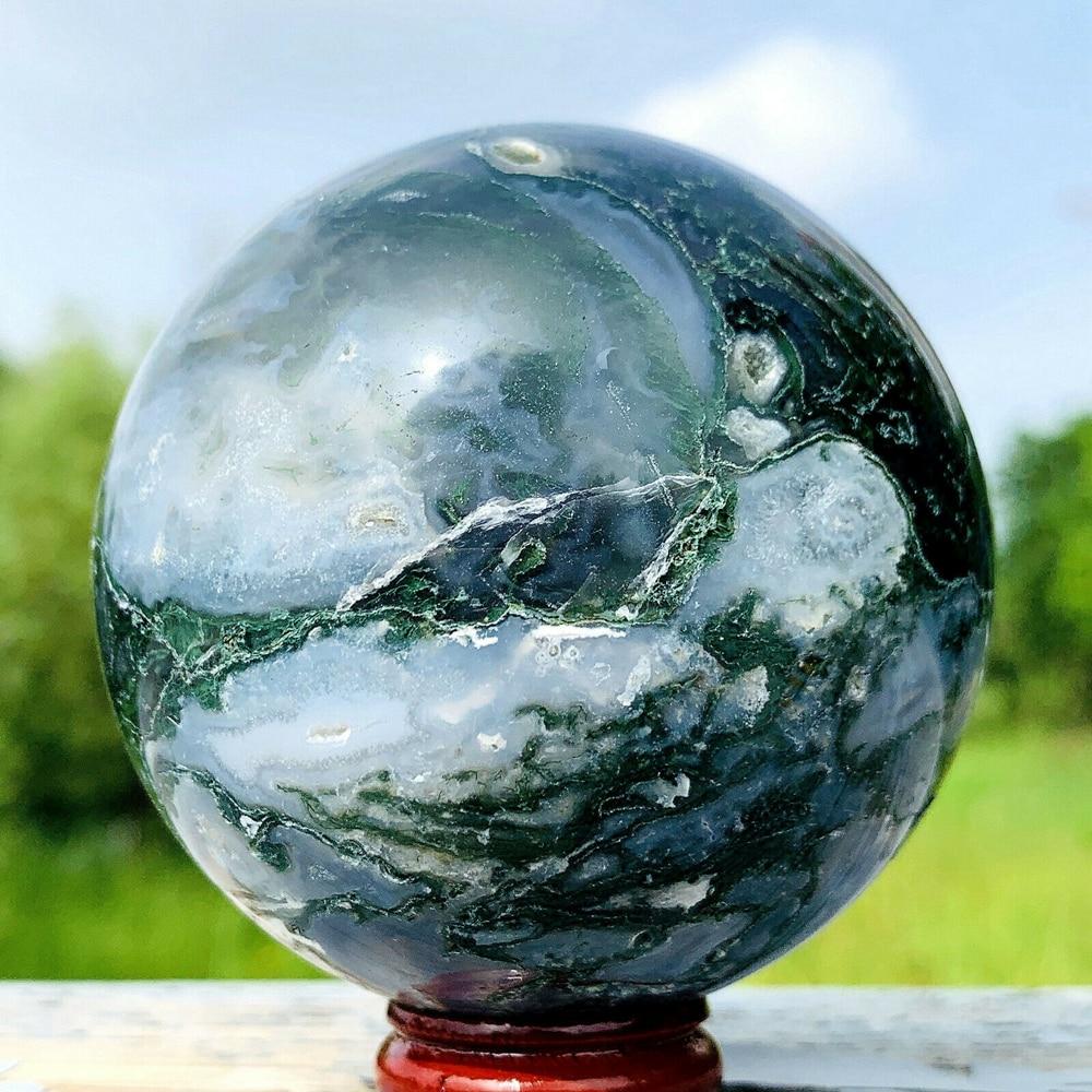 Natural moss agate sphere crystal quartz rock mineral Reiki healing
