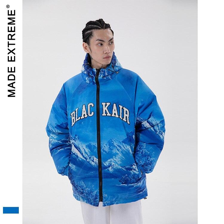 MADEEXTREME Graphic parkas winter jacket Men Letter Winter Windbreaker Streetwear Harajuku Men Hip Hop  Jacket Coat L211