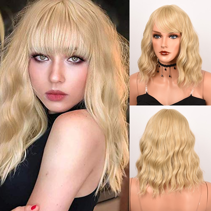 Short Wave Wig with Bangs Synthetic Wigs for Women Natural Blonde Mixed Black Ombre Hair Bob Wig Daily Heat Resistant Fiber