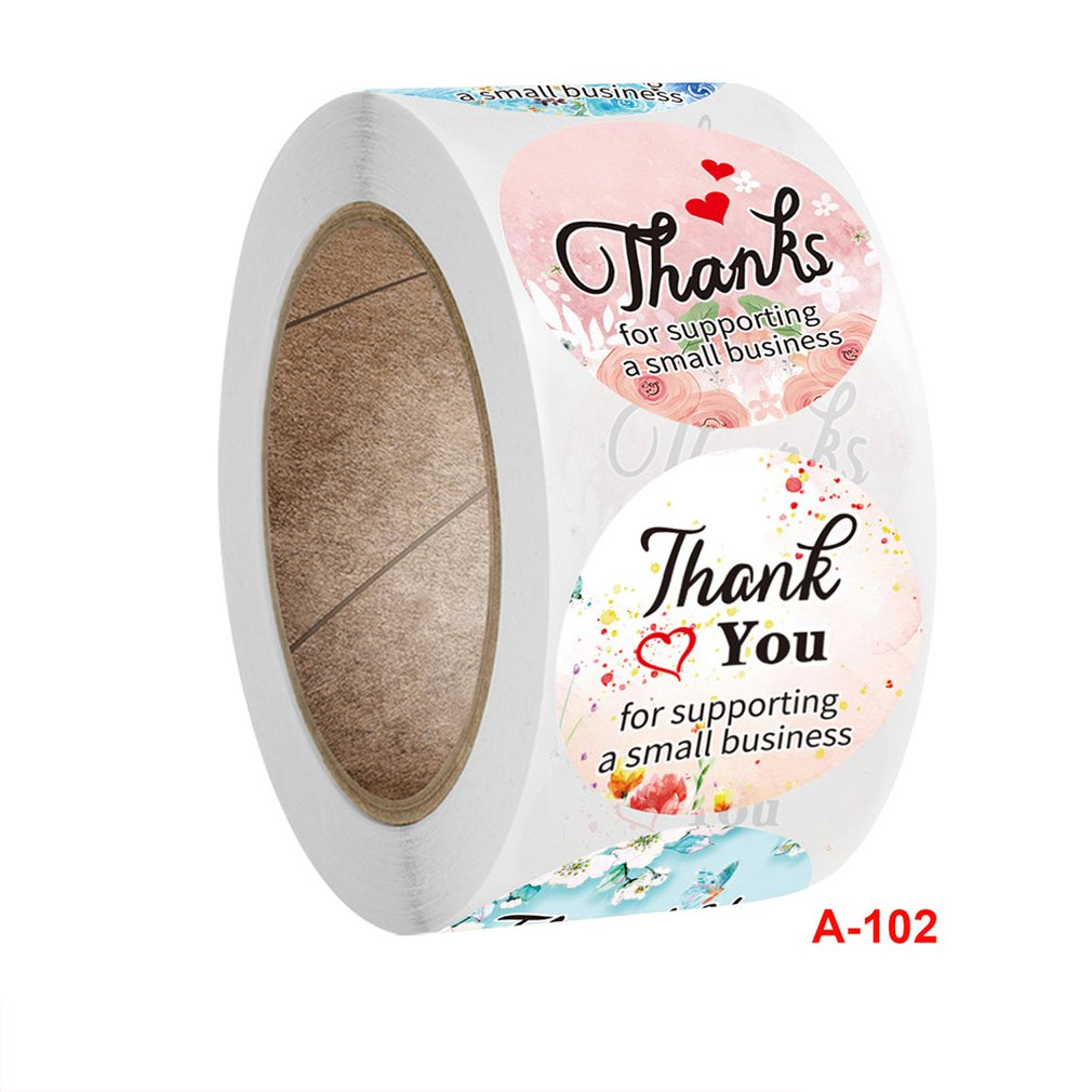 500pcs/Roll Mailing Supplies For Business Bags Roll Flower Sticker Label Copper Plate Self-Adhesive Round Decoration Stickers