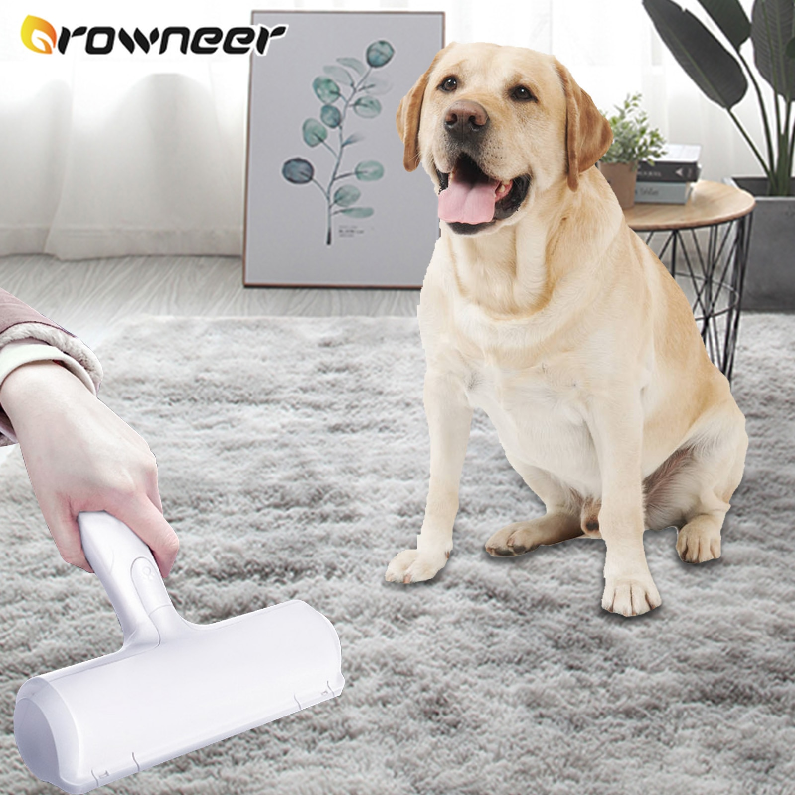 Two-way Lint Sticking Roller ABS Nylon Fabric Pet Hair Remover Humanized Handle Portable Cat Ear Car