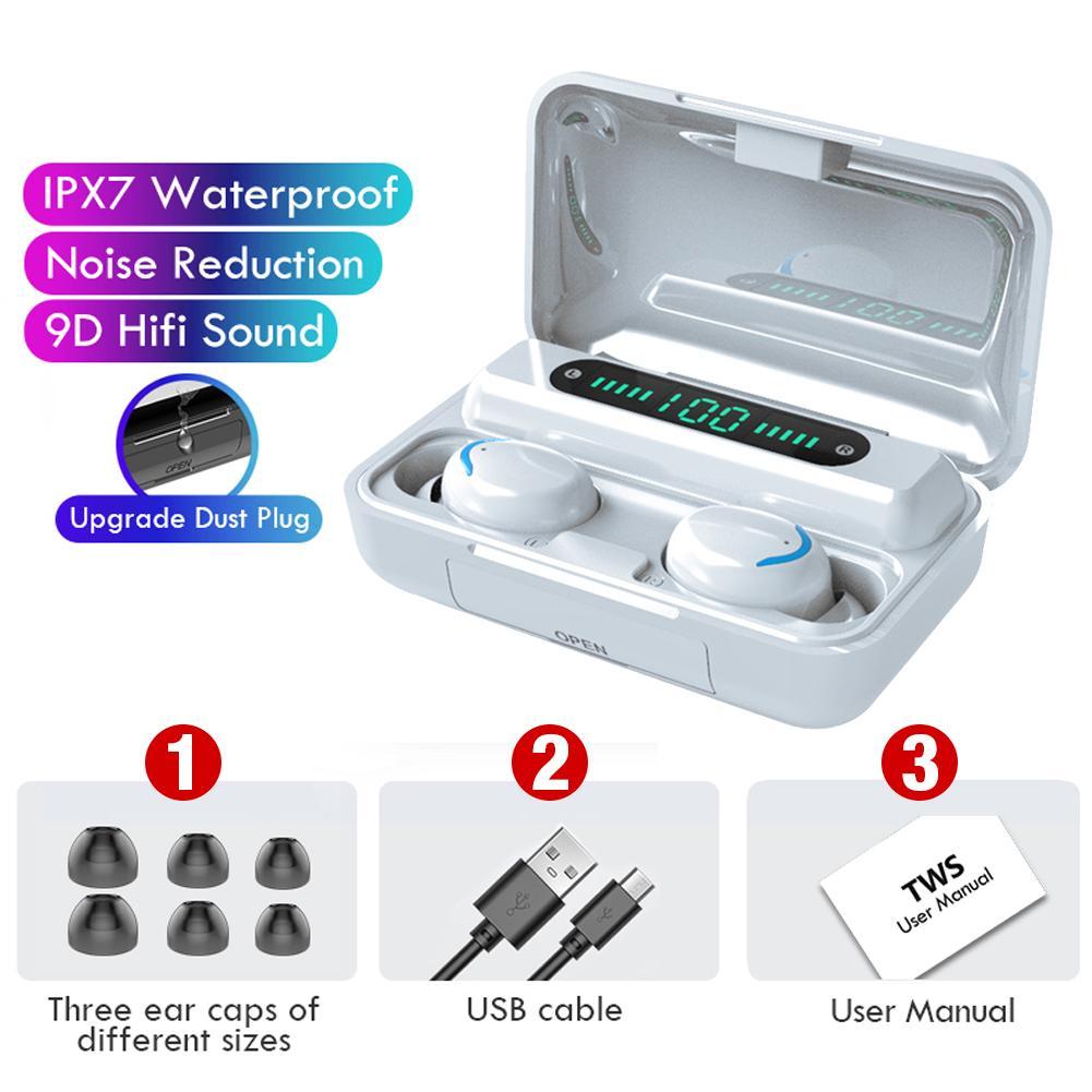 F9-32 V5.0 Bluetooth 9D стерео наушники Беспроводной IPX7 Водонепроницаемый сенсорный Blue