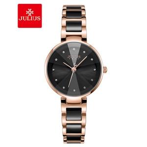 Julius Brand Women Watch Black Ceramic Watches Simple Quartz Watch Fashion Waterproof Wristwatch Female Zegarek Damski
