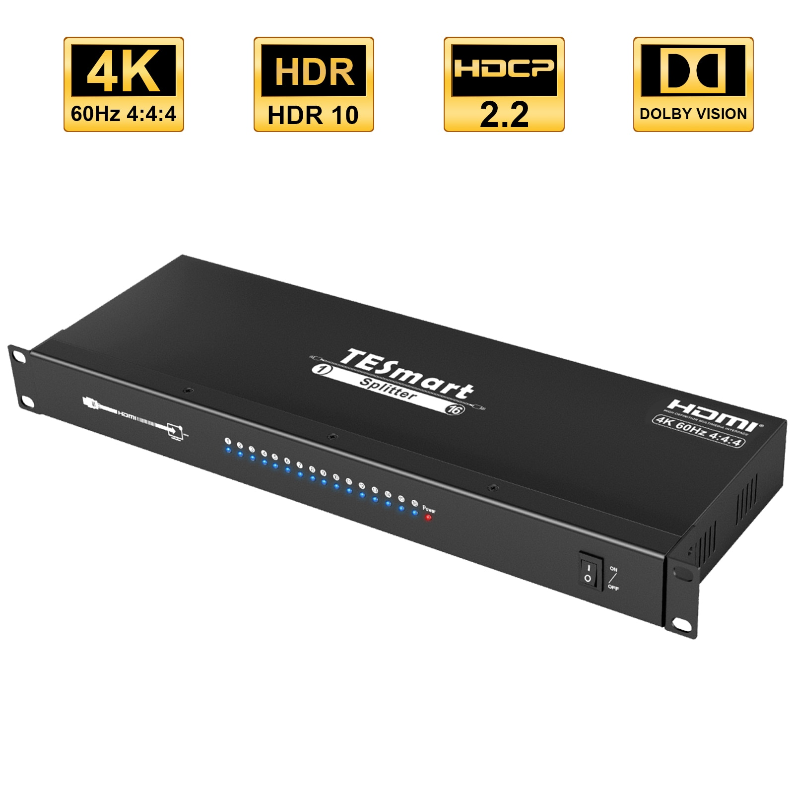 HDMI Splitter 1 in 16 Out Distribution Amplifier Support 4K @ 60Hz Ultra HD 1080P 3D HDCP 2.2 for  HDTV/PC/DVD