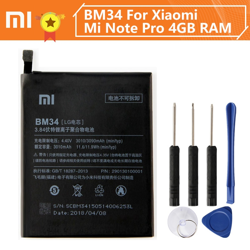 Batería de teléfono Xiao Mi Xiaomi BM34 para Xiao mi Note Pro 3090mAh BM34 batería de repuesto Original + herramienta