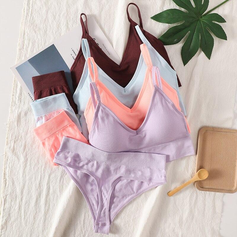Women Bra Panties Set Sexy G-String Push Up Bra Crop Top Seamless Underwear Fitness Active Bra Thongs Female Top Lingerie Set