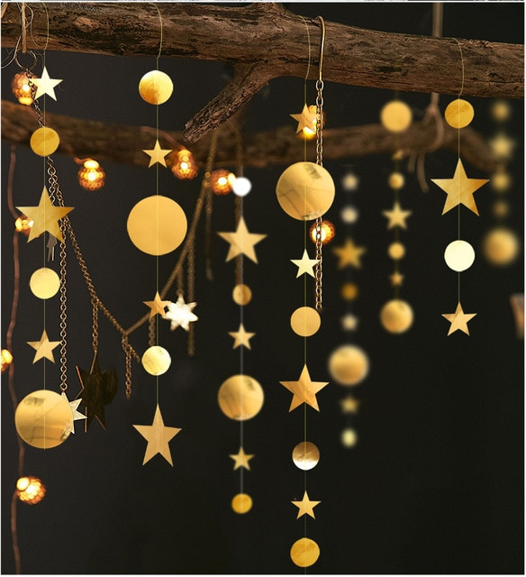 4m Circle Star Garland Paper Garland Banner Party Decoration Bunting Wedding Birthday Party Christmas Decoration Supplies 10