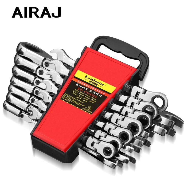 AIRAJ8-19mm وجع مجموعة الغرض المزدوج اسئلة متعددة الوظائف قابل للتعديل عزم الدوران وجع وجع عالمي سيارة إصلاح أداة مع تخزين