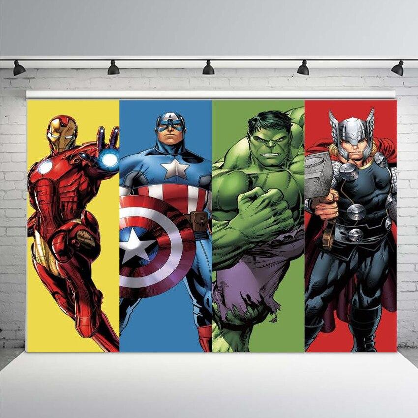 Avengers Hintergrund Geburtstag Party Retro Super Hero Hintergrund Fotografie Kinder Hulk Iron Man Capatain Amerika Party Banner Gedruckt
