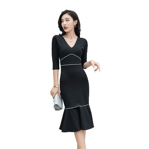 S-2XL Women's Solid Color V-neck Seven-minute Sleeve Tight Fishtail Skirt 21 Spring And Autumn New Casual Temperament Slim Dress