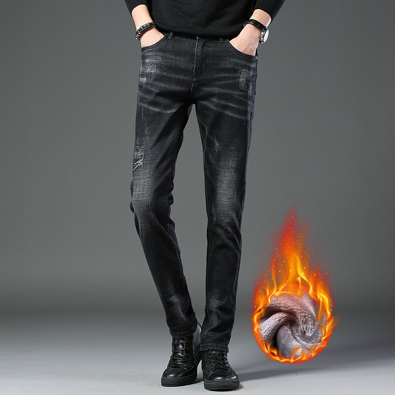 2020 new men's casual business jeans plus velvet thick jeans high quality