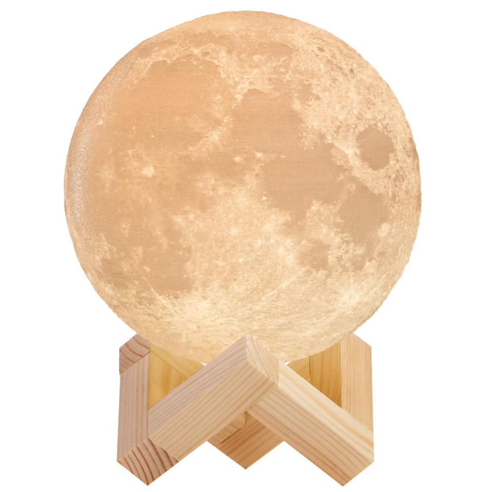 New Rechargeable Moon Lamp 2 Color Change 3D Light Touch Switch 3D Print Lamp Moon Bedroom Bookcase
