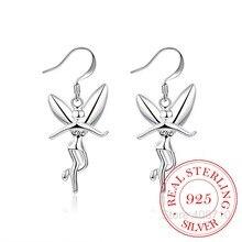 Prévenir lallergie 925 en argent Sterling Vintage boucles doreilles pour les femmes ange aile longue oreille bijoux fête cadeau