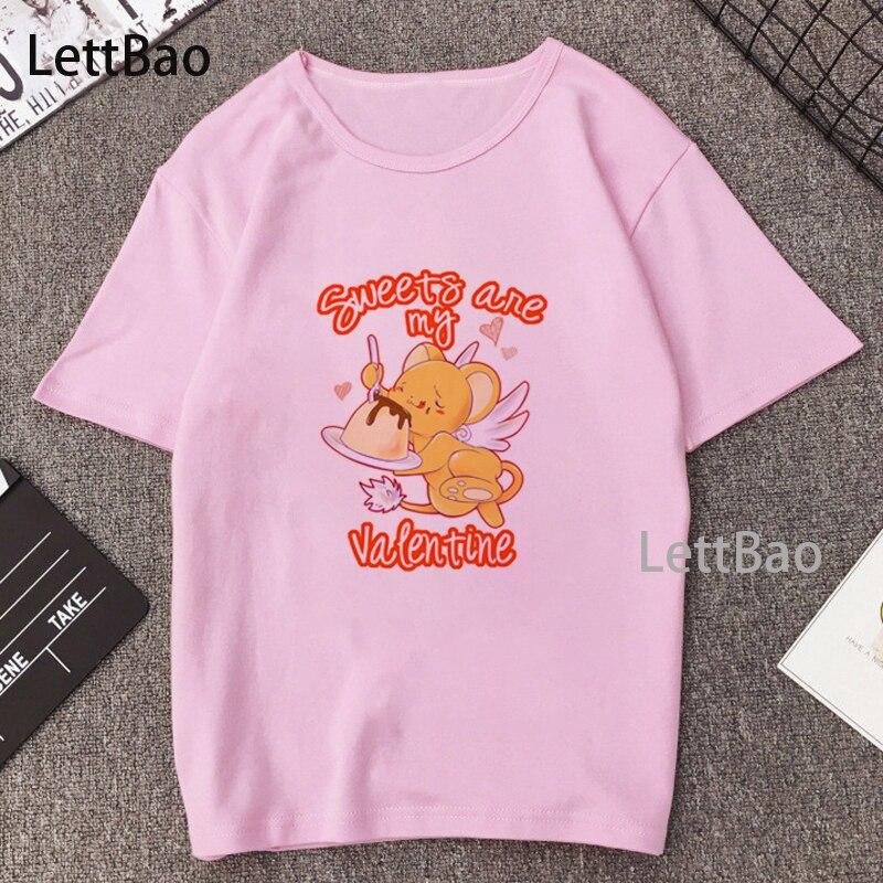 Camiseta con estampado de cartas de Captor Sakura, camiseta de Anime japonés, Camiseta cómoda de color rosa Harajuku y Ulzzang