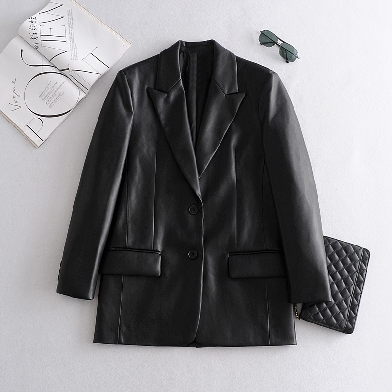 2021 Long PU Faux Leather Blazers Women Leather Jacket Coat Brand New Women's Jackets Outerwear Ladies Coats Female Leather Suit
