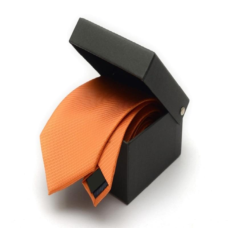 2020 Brand New Men's High Quality Fashion 6CM 8CM Twill Orange Necktie Romantic Wedding Groom Neck Tie for Men with Gift Box