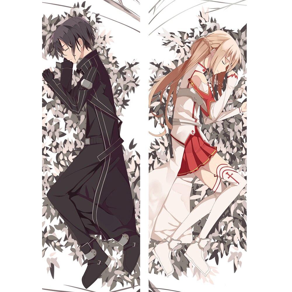 Espada arte Online almohada caso Anime Dakimakura Kikuchi abrazando cuerpo decorativo 45*45 almohada cubierta Kirito y Asuna ropa de cama cojín