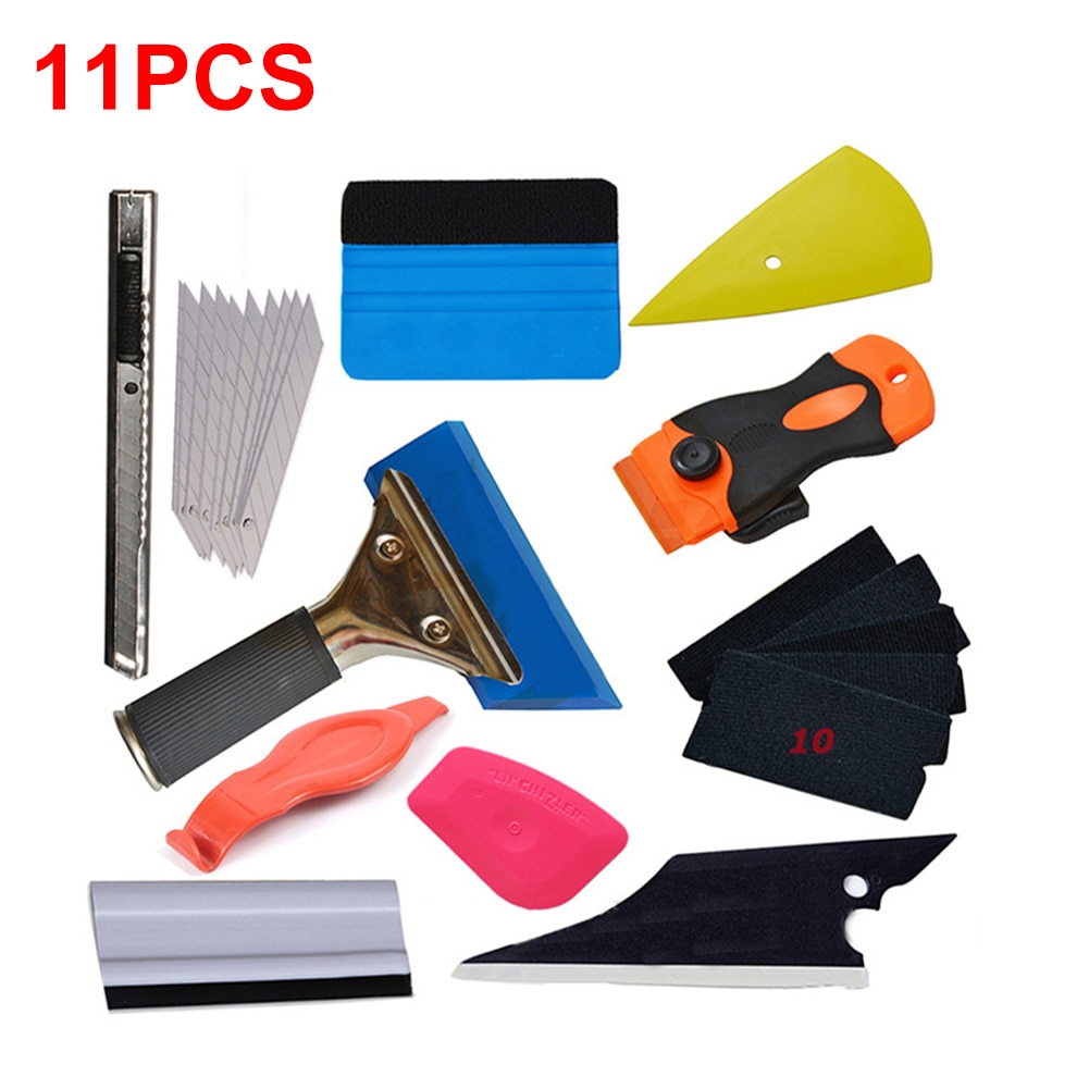 Top 11Pcs/Set Car Tool Wrap Film Sticker Wrapping Tool Car Window Film Scraper Tinting Squeegee Wiper Decal Scraper Accessories