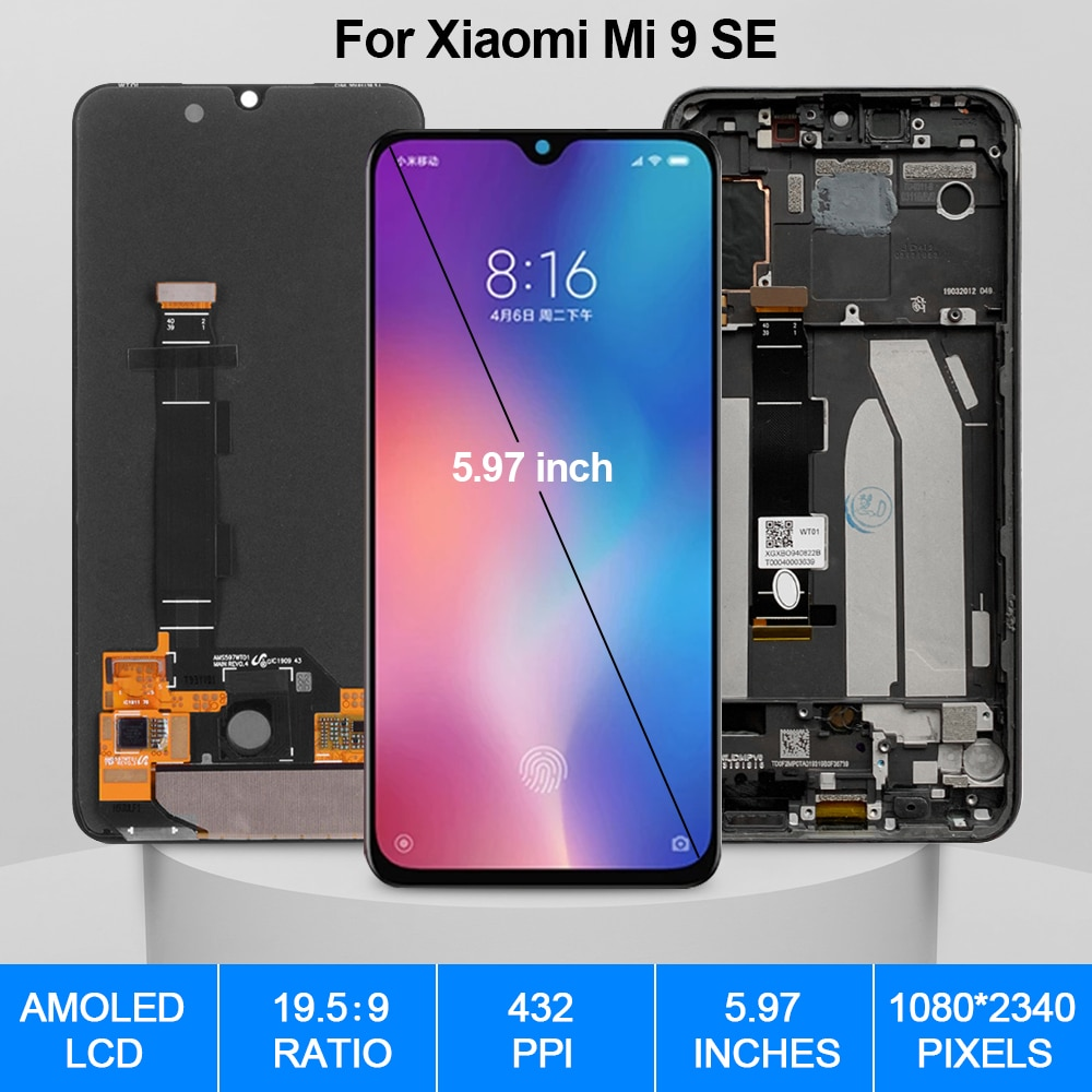 5.97'' AMOLED Screen For Xiaomi Mi 9 SE LCD Display With Frame For Xiaomi Mi9 SE Touch Screen Digitizer Replacement Parts enlarge