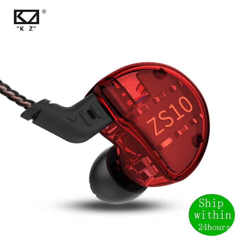 KZ ZS10 1DD+4BA 4BA+1DD HIFI Headset Hybrid In-ear Earphone Sport Noise Cancelling Headset Replacement Cable AS10 BA10 ZST ZSN