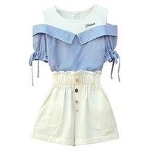 Women Summer Short 2 piece set Elegant Fashion off shoulder Shirt top and Short Pant two pieces set Large Plus Size big outfit