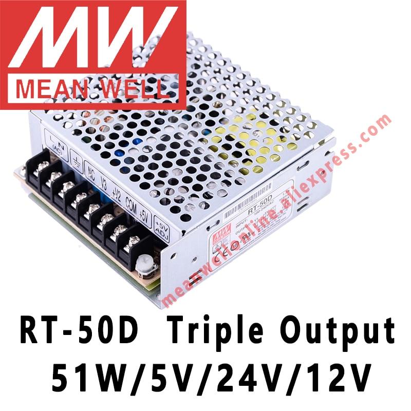 Mean Well RT-50D 5 V/24 V/12 V CA/CC 51W fuente de alimentación de conmutación de salida Triple meanwell tienda en línea