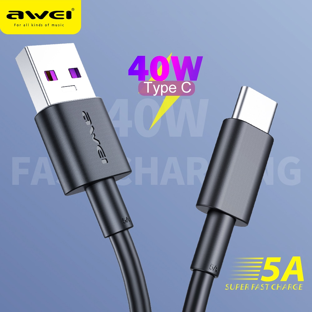 Наушники вкладыши Awei CL 77T 5A Быстрый зарядный кабель с разъемом USB Type C 40 Вт передачи