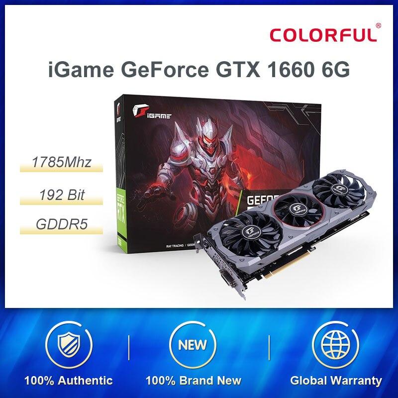 Цветная графическая карта iGame GeForce GTX 1660 Super Advanced OC 6G Nvidia GPU 1785 МГц видеокарта 192 бит HDMI DVI для игрового ПК