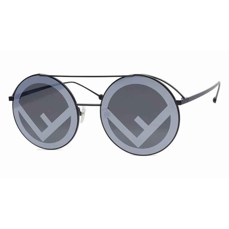 Vintage double-beam round-framed letter lens print decorative sunglasses