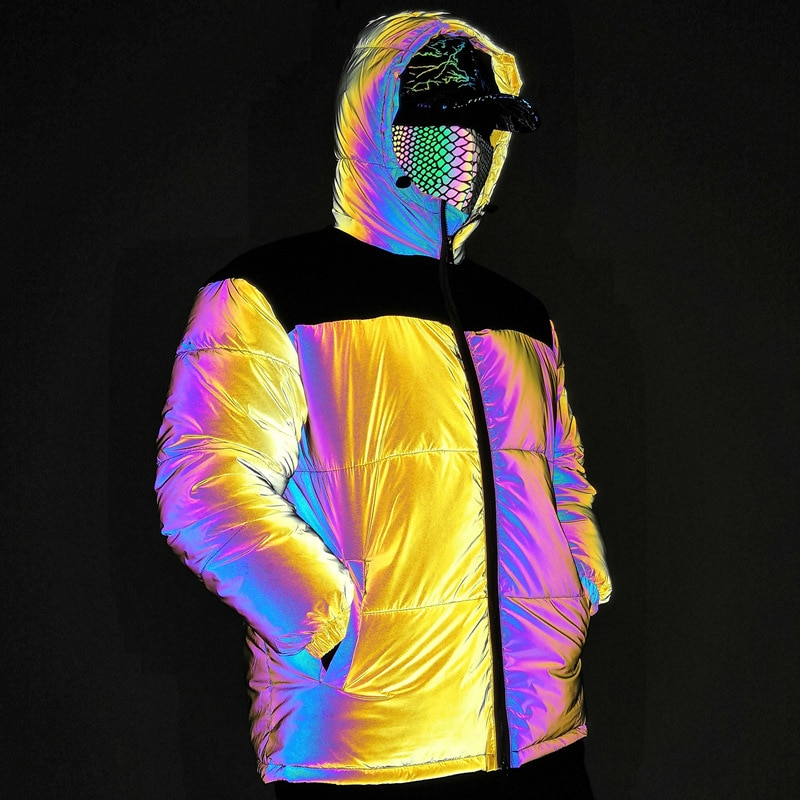 High Street Yellow Hooded Stitching Laser Colorful Reflective Cotton Jacket Personality Fashion Thicken Cotton Jacket