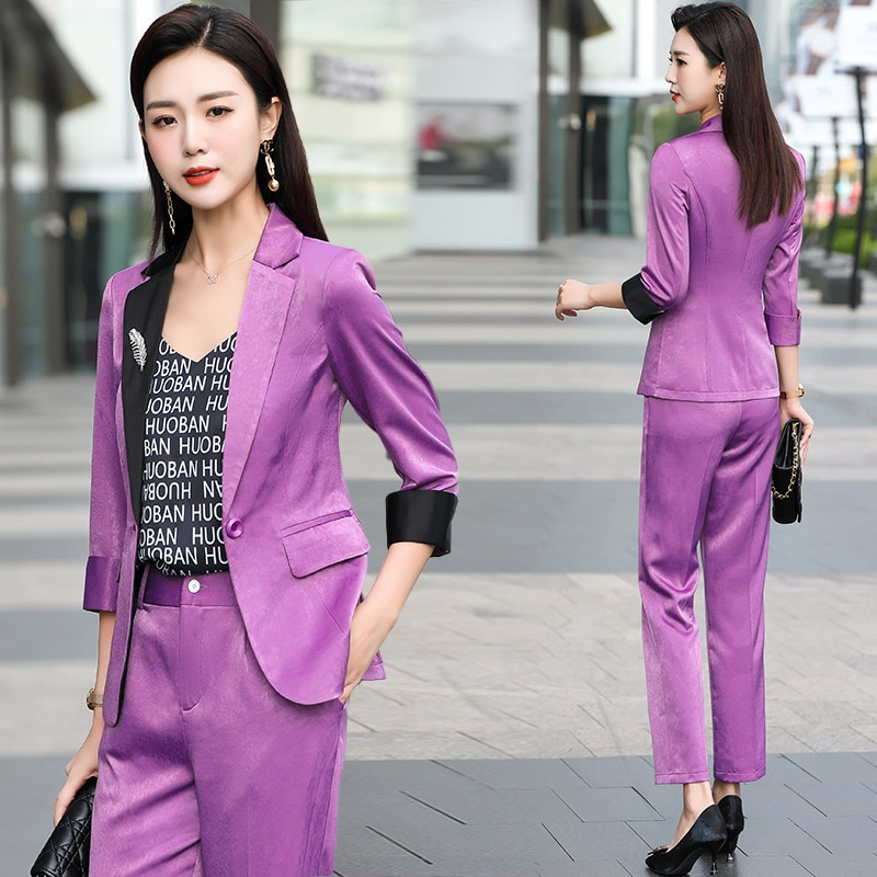 High-End Acetate Satin Purple Suit Female 2021 Spring and Summer New Casual Fashion Adult Lady like