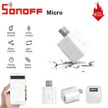 10/1 pièces SONOFF Micro Mini USB adaptateur commutateur 5V Wifi USB adaptateur secteur commutateur maison intelligente via lapplication eWeLink Google Home Alexa