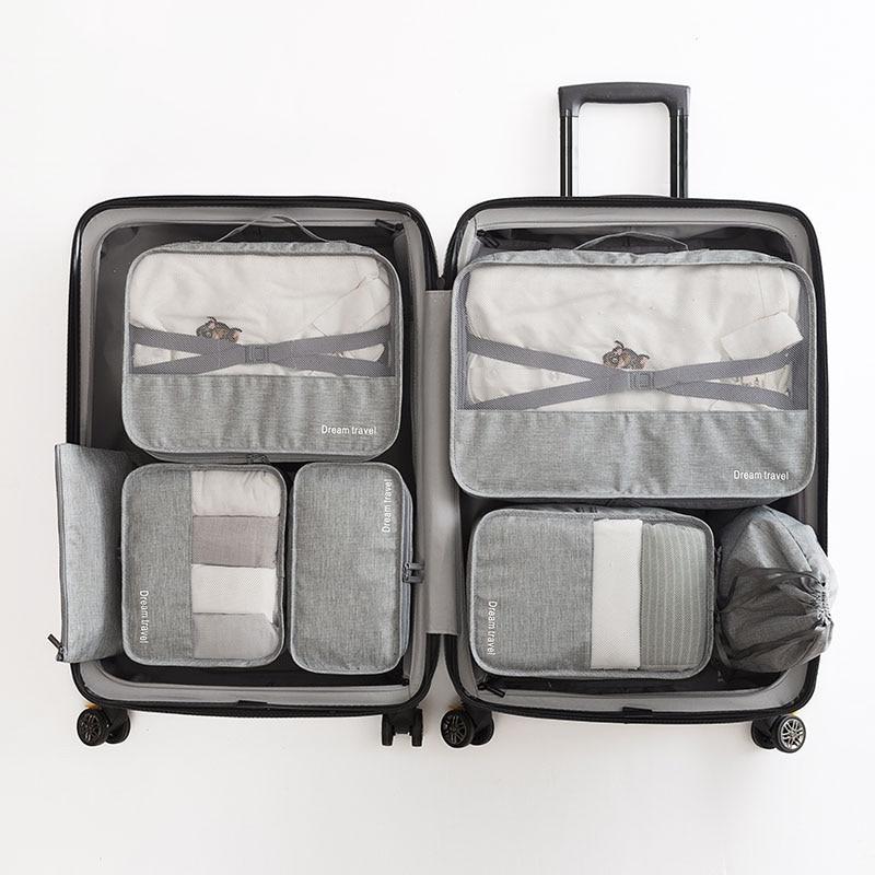High-grade 7pcs/set Suitcase Organizer Koffer Organizer Sets Luggage Organizer Laundry Pouch Packing