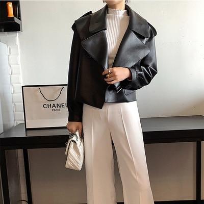 2021 New Leather Jacket Women Sheepskin Loose Jacket
