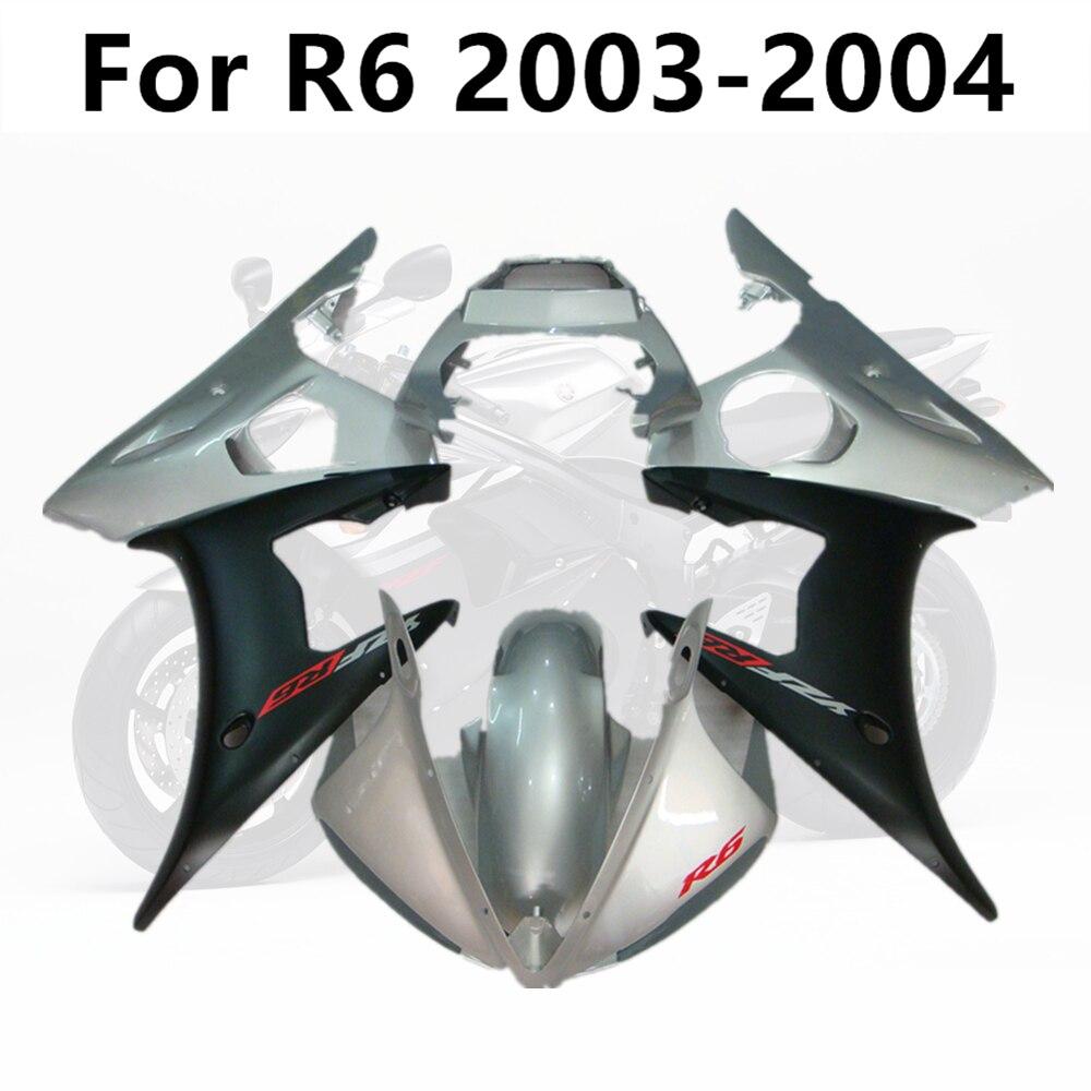 مجموعة انسيابية كاملة للدراجات النارية ، هيكل دراجة نارية ، حقن غطاء محرك السيارة ، فضي ، أسود غير لامع ، لـ Yamaha R6 2003-2004 03-04