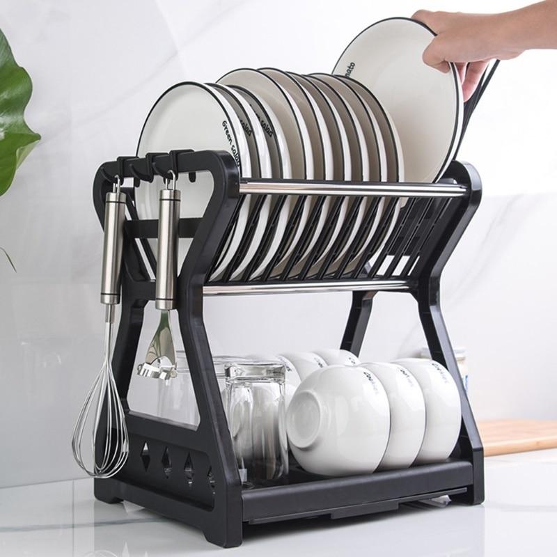 طبق السلطانية تجفيف الرف المطبخ استنزاف التخزين مع علبة شوبستيك قفص 2-layer أدوات المائدة المنزلية درج منظم سلة صندوق