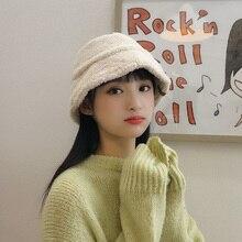 Chapeau femme en peluche seau   Femme, Imitation agneau, cachemire cape de pêcheur femme, automne hiver coréen, couleur Pure, doux chapeaux