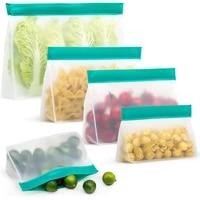 1pcs fresh keeping bag zipper translucent upright reusable freezer vegetable fruit cake storage food fresh bag kitchen supplies