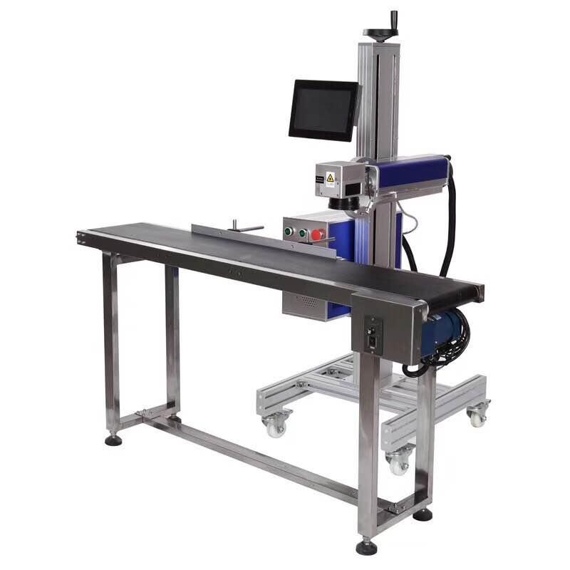 Máquina marcadora láser CO2 para cuero/madera/Alimentos/medicina con mesa marcadora de Vuelo en línea, conductor, sensor