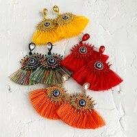 design tassel earrings wedding eye earrings for women bohemian elegant party orange drop earrings dangle jewelr christmas gift