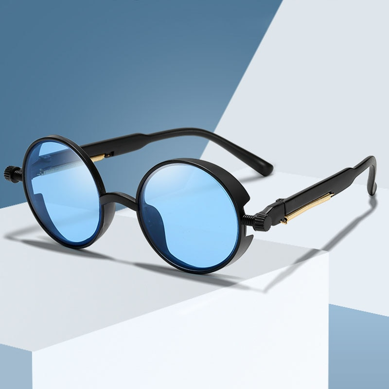 Fashion Steampunk Sunglasses Brand Design Men Round Sun glasses Women Vintage Punk Sun glasses UV400
